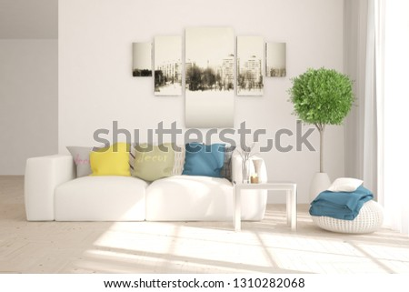 White stylish minimalist room in hight resolution with colorful sofa. Scandinavian interior design. 3D illustration #1310282068