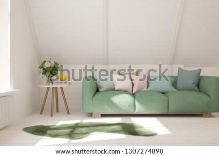 White stylish minimalist room with sofa. Scandinavian interior design. 3D illustration #1307274898