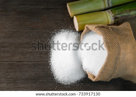 White Sugar, Sugar in bag sack with Fresh green sugar cane cut on wooden background, top view with copy space for your text message or promotional content.
