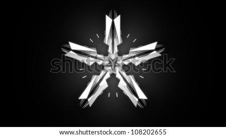 White Super Star on Black Background