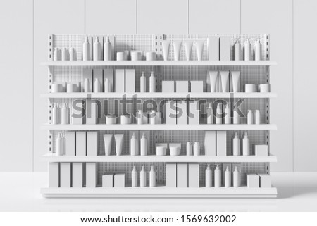 White supermarket shelf with bottles and boxes. Care products on a shelf in a store. Idea of trade. 3d rendering