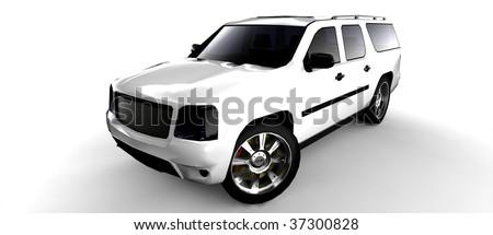 White SUV isolated