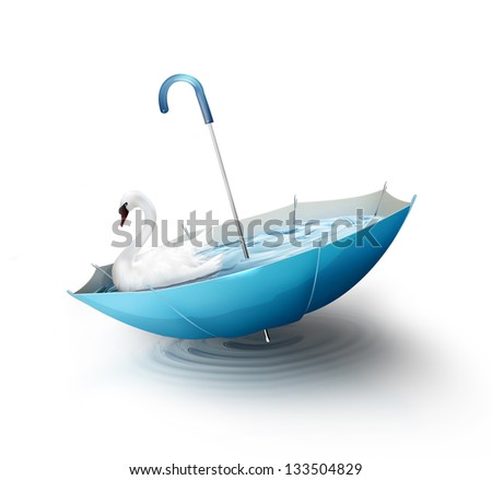 white swan floats in an inverted umbrella with water
