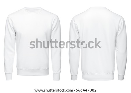 white sweatshirt, clothes on isolated white background. blank white pullover template