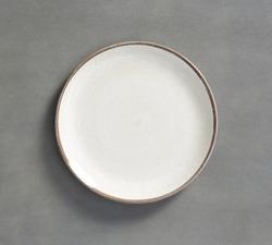 White Swirl Melamine Plate  with dark gray background