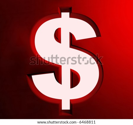 White symbol of dollar on a background 3d image