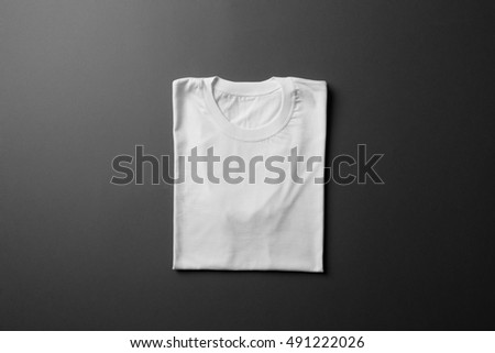 White T-Shirt Mock-up on black background, ready to replace your design #491222026