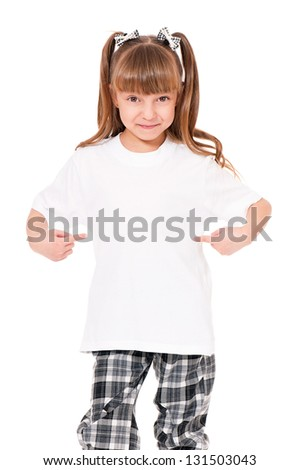 White T-shirt on a cute little girl, isolated on white background