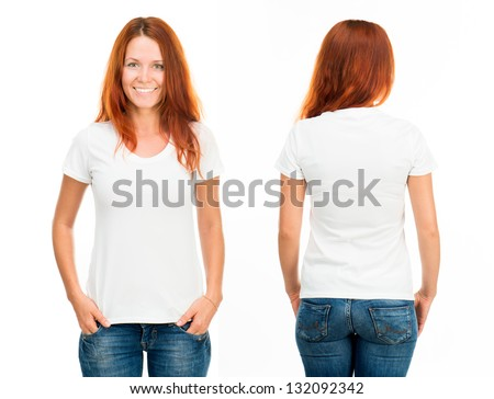 white t-shirt on a smiling girl, front and back