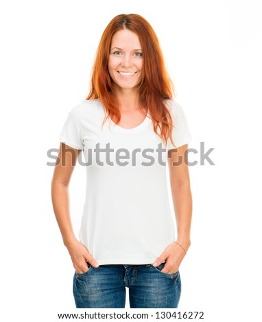 white t-shirt on a smiling girl with perfect body