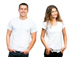 white t-shirt on a young man and girl isolated