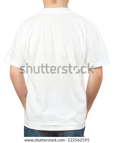 white t-shirt on a young man isolated on the white