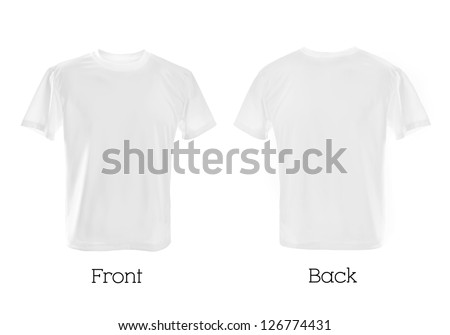 white T-shirts front and back cbe used as design template.