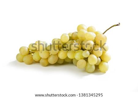 White table grapes Uva Italia isolated on white background Foto stock ©