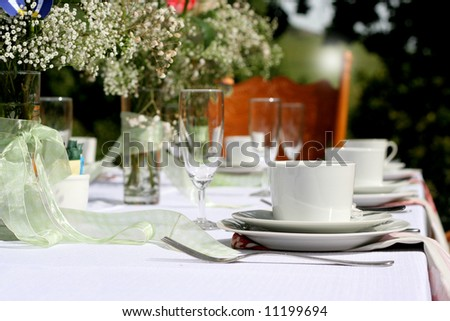stock photo White table setting for wedding party