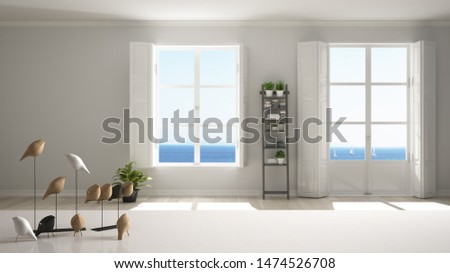White table top or shelf with minimalistic bird ornament, birdie knick - knack over blurred minimalist stylish empty room with panoramic windows, modern interior design, 3d illustration