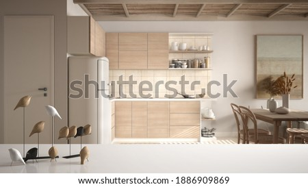 White table top or shelf with minimalistic bird ornament, birdie knick - knack over blurred contemporary white and wooden kitchen with dining table and living, modern interior design, 3d illustration Photo stock ©