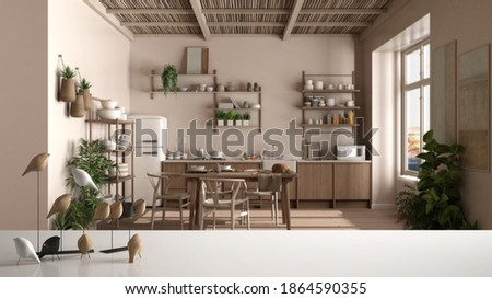 White table top or shelf with minimalistic bird ornament, birdie knick - knack over blurred country rustic kitchen, dining table, chairs, shelves, appliances, modern interior design, 3d illustration Photo stock ©