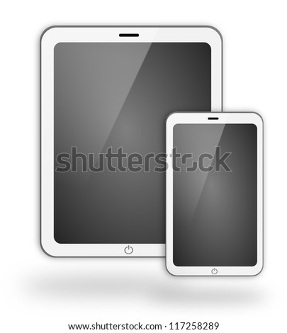 White tablet and smartphone isolated