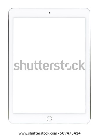 White tablet computer isolated on over White background