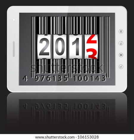White tablet PC computer with 2013 New Year counter, barcode isolated on black background.   illustration.
