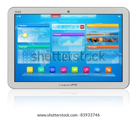 White tablet PC isolated on white reflective background - stock photo