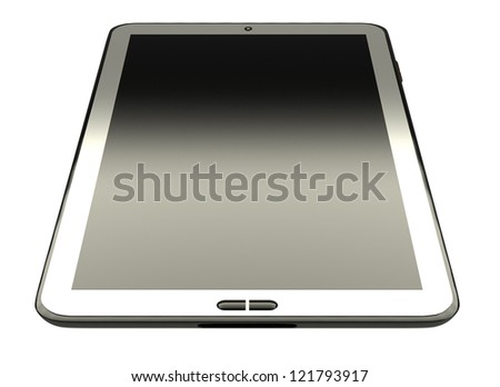 White tablet pc on white background - like generic portable notebook