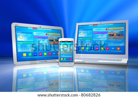 White tablet PC, smartphone and laptop isolated on blue abstract reflective background