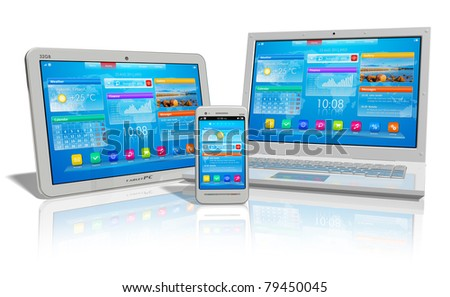 White tablet PC, smartphone and laptop isolated on white reflective background