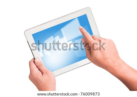 White Tablet PC with moving image