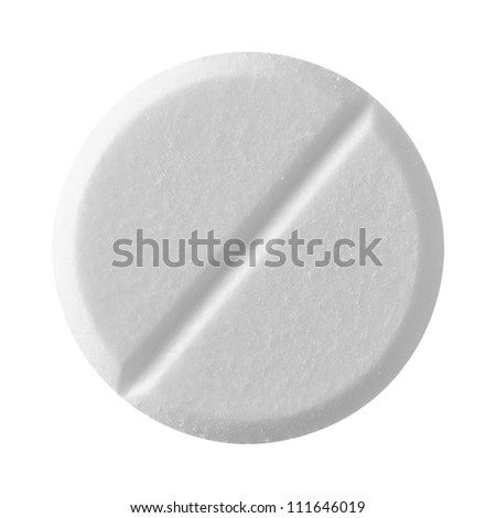 White tablet pill , isolated on white background