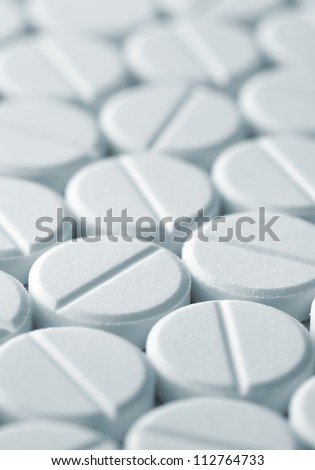 White tablet pills background , full frame