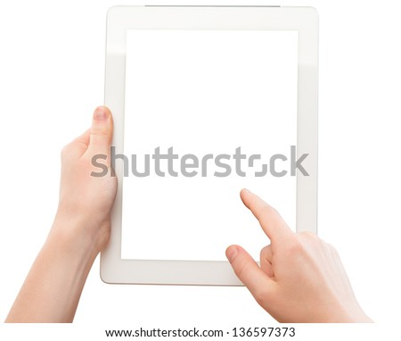 white tablet with a  blank screen in the hands of  woman isolated on white background