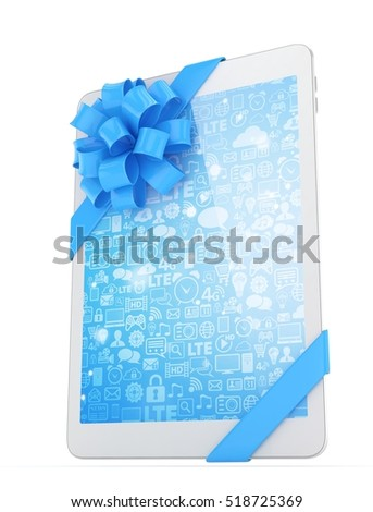 White tablet with blue bow and blue screen. 3D rendering.