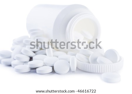 white tablette and bottle isolated