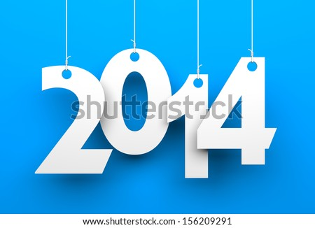 Shutterstock White tags with 2014 on blue background