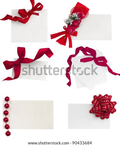 white tags with red ribbons collection