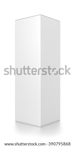 White tall rectangle blank box isolated on white background.