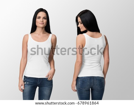 White Tank Top on a young woman in jeans, isolated, front and back, mockup.
