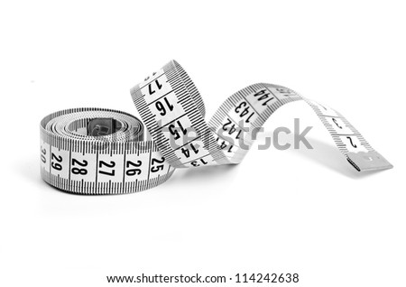 white tape measuring - stock photo
