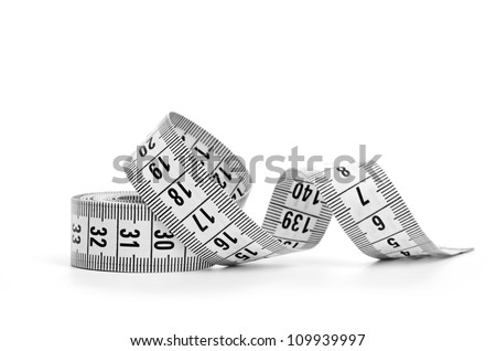 white tape measuring isolated on white background