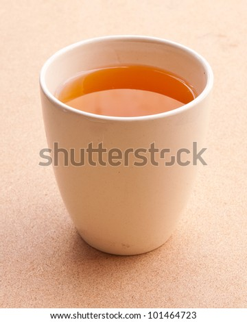 White tea cup on the floor.