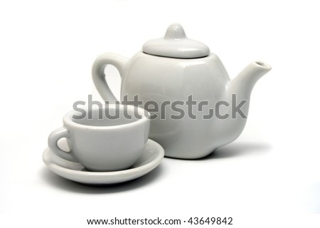White Teapot and Teacup on White Background
