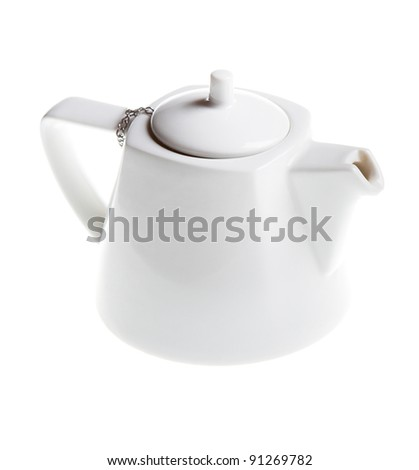 white teapot isolated on the white background