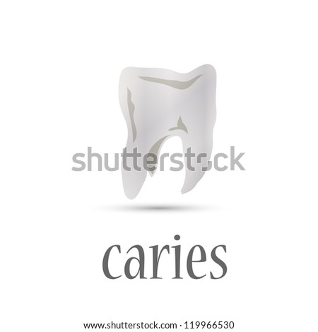 white teeth stained tooth decay. vector