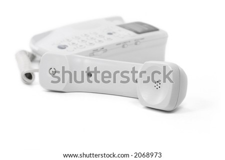 white telephone with white background, concept of communication
