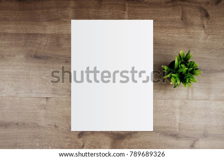 White template paper and space for text on wooden background #789689326