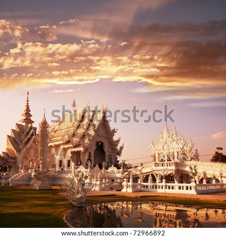White temple in Chiang Rai province, Northern Thailand
