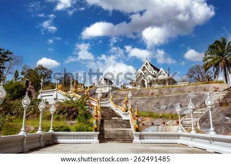 White temple Wat Kaew Korawaram in Krabi town. Krabi province. Thailand