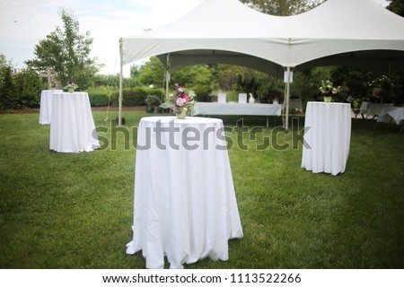 White Tents and High top Tables for an Outdoor Garden Event with Pink and Purple Centerpieces #1113522266